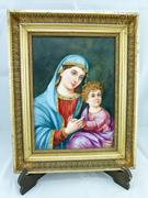 Signed E.Ferard Painting on porcelain plate of a mother with child