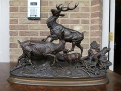 Napoleon III Sculpture of a deer, doe and fawn by Delabruerre