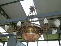 A bronze and alabaster lamp in Louis 16 styl.